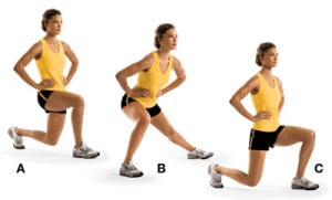Around the clock lunges exercise to get rid of cellulite