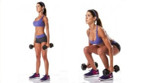Dumbbell squat cellulite exercise