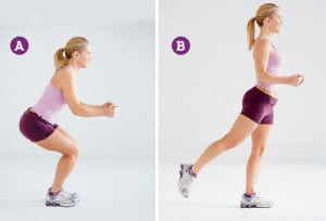 Squat kickback exercise to get rid of cellulite
